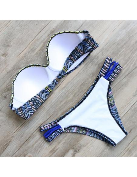 Costum de baie gypsy cu bustiera si imprimeu colorat cu buline mici