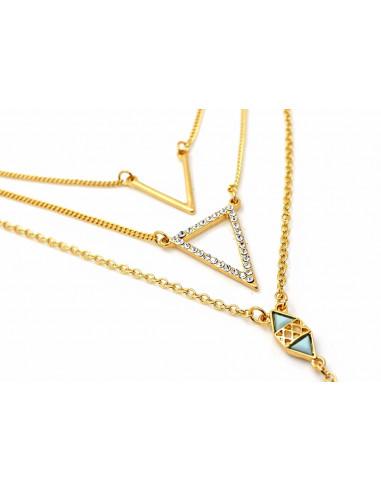 Set lant pentru corp si doua lantisoare, cu triunghiuri si cristale