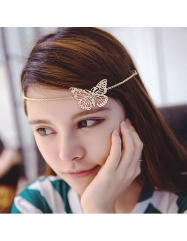Clame aurii cu lantisoare groase si fluture cu cristal