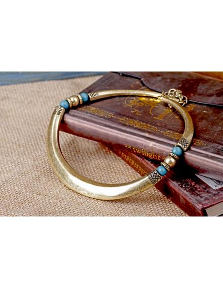 Colier la baza gatului, model auriu vintage cu insertii maiase, colier lat