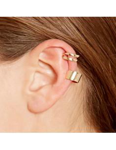 Cercel ear cuff simplu, inel lat lucios, dublu