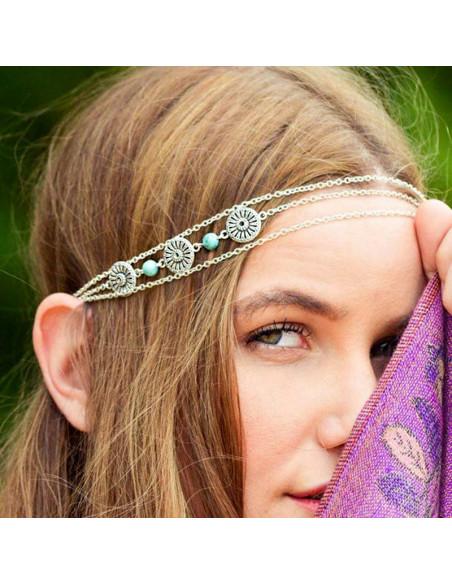 Bentita de par model etnic, cu medalioane rotunde si margele turcoaz
