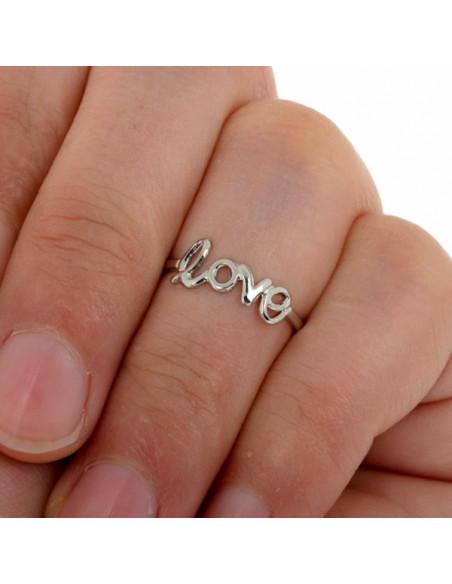 Inel argintiu midi, pentru picior, cu LOVE