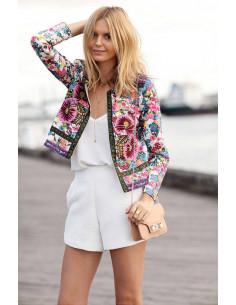 Jacheta scurta, subtire, cu broderie si imprimeu floral multicolor