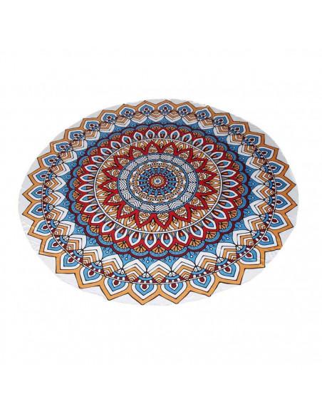 Cearceaf de plaja cu model etnic geometric si nuante de rosu cu albastru