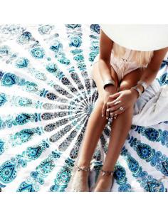 Cearceaf de plaja cu model etnic floral pe exterior si bufnite