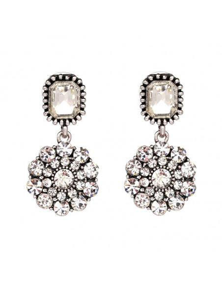 Cercei eleganti cu cristale albe, floare rotunda si cristal octogonal