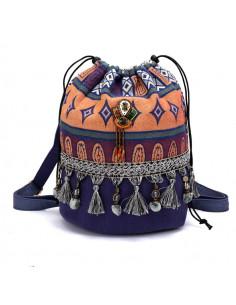 Geanta rucsac dama, albastru cu motive etnice, canafi si margelute