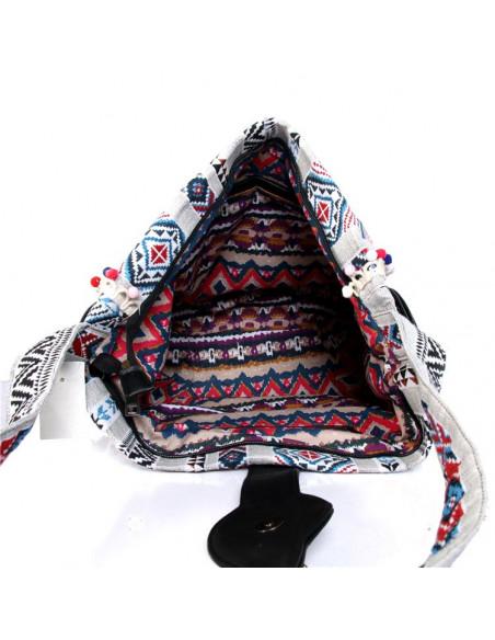 Geanta etnica tip postas, din material textil tesut, franjuri si margele