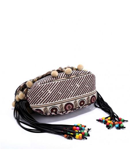 Geanta etnica din material textil tesut, cu franjuri, canafi si margele
