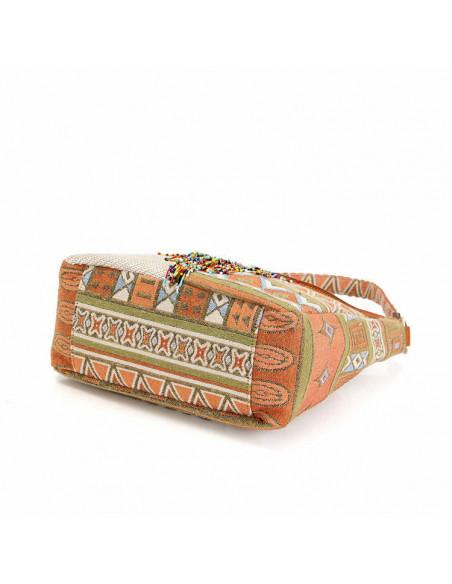 Geanta etnica din material textil tesut, cu franjuri din margelute mici