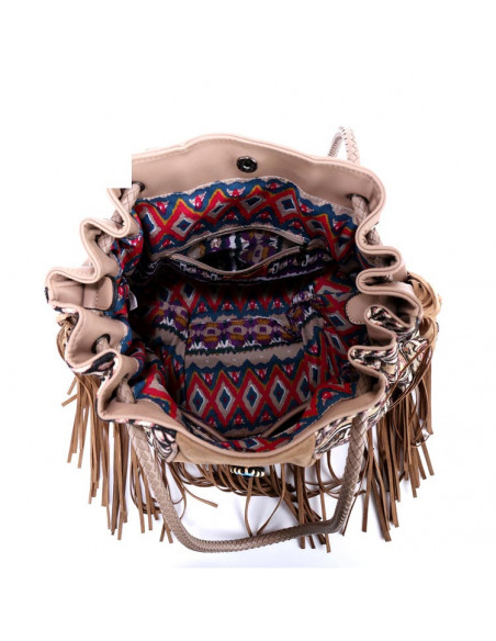 Geanta etnica tip saculet, crem cu franjuri si margelute
