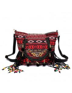 Geanta rucsac, rosie cu motive etnice, franjuri si margelute