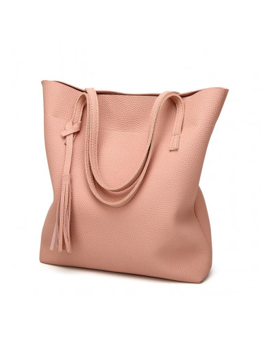 Geanta eleganta de dama, din piele ecologica, roz pal cu canaf