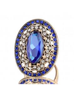 Inel vintage masiv, model baroc oval cu cristale albe si albastre