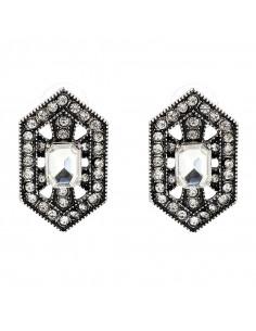 Cercei luxury hexagonali, Silver Sophie cu cristale albe stralucitoare