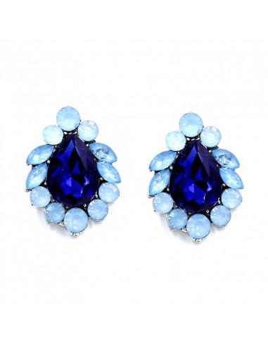 Cercei luxury cu cristale bleu si albastre, model floral elegant