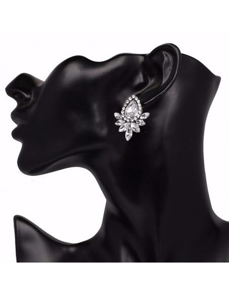 Cercei luxury Daffodil, floare cu cristale cat eye si rotunde