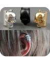 Cercei tip ear cuff, craniu cu zambet larg, prindere pe ureche, reglabil