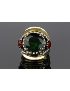 Inel vintage masiv, tip sigiliu cu cristal verde si doua cristale rosii