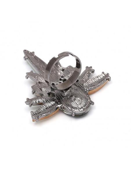 Inel luxury Compass, cristal mare oval si mici ascutite
