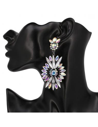 Cercei eleganti Sun Shield, cu cristale stralucitoare model floral oval