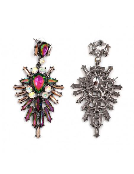 Cercei luxury Sun Dance, cu cristale stralucitoare multicolore