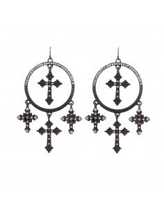 Cercei candelabru rotunzi, cu cristale si cruciulite, model statement negru