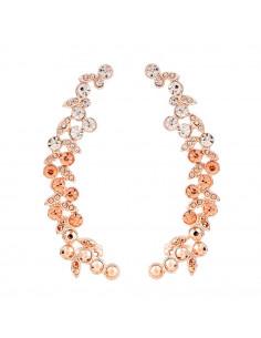 Cercei ear cuff, model Golden Branch cu cristale albe si roz