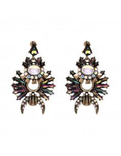 Cercei luxury cu cristale colorate alungite si semiluna, model tribal