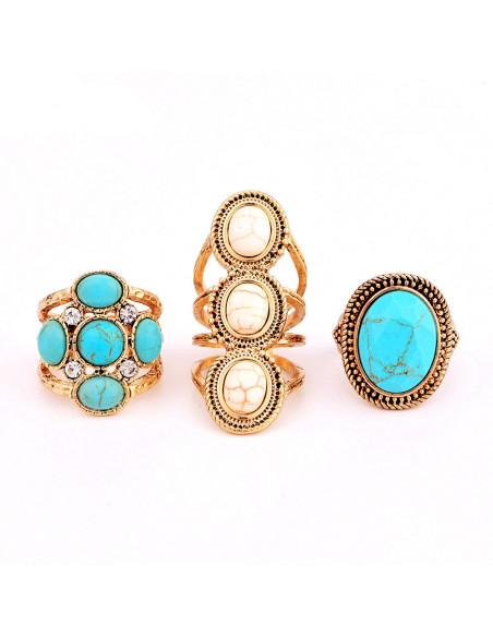Set trei inele vintage cu pietre howlit si cristale, model etnic