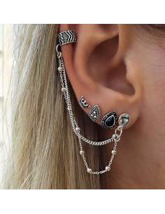 Set cercei si ear cuff cu lantisoare, model boho argintiu patinat