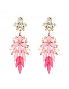 Cercei luxury cu cristale roz opace alungite, cercei lungi tip ciorchine