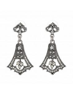 Cercei luxury eleganti argintii cu cristale albe tip clopot