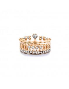 Inel elegant cu cristale Crown Jewel, coronita lata regala