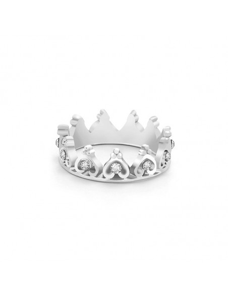 Inel elegant cu cristale Prince Crown, coronita subtire regala