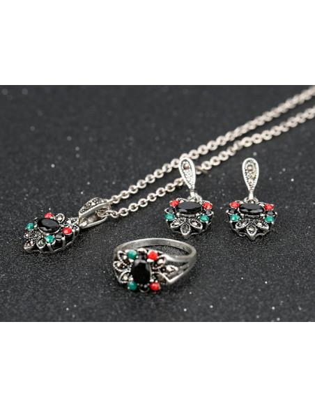 Set colier, cercei si inel vintage cu cristale rosii, verzi si negre