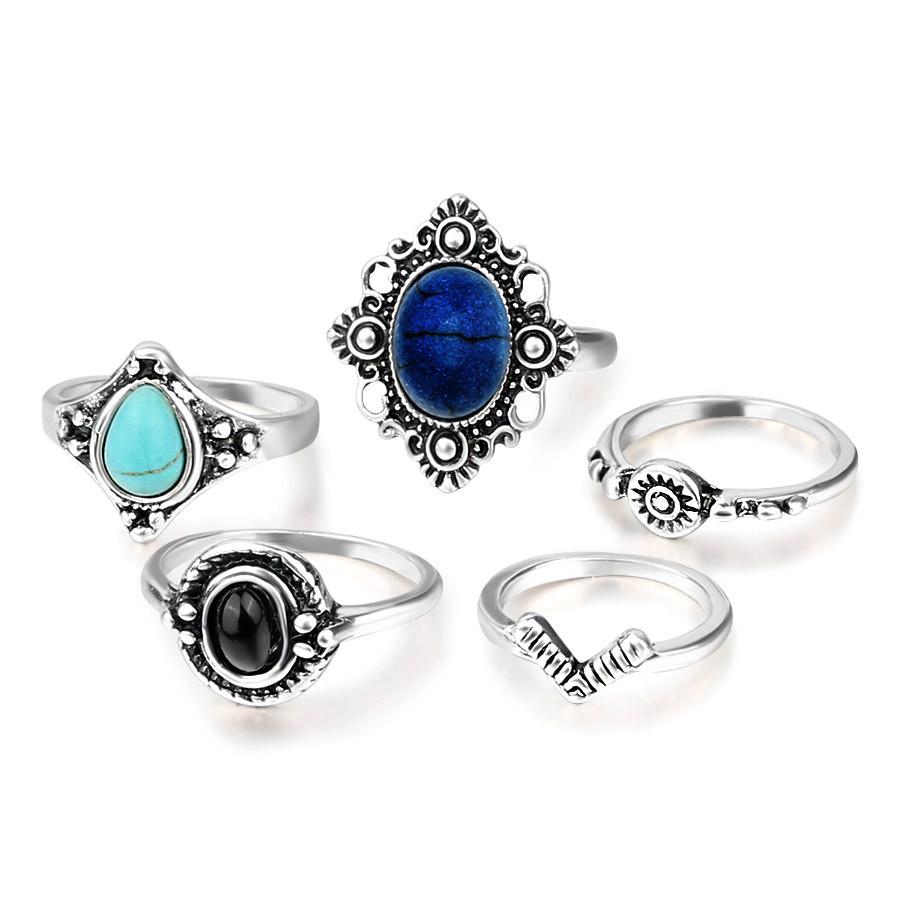 Set 5 inele etnice, modele variate cu pietre negre, bleu si bleumarin