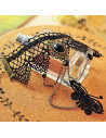 Bratara cu inel, bratara arabeasca, bratara lucrata manual din dantela neagra si metal, cu medalion si fluture