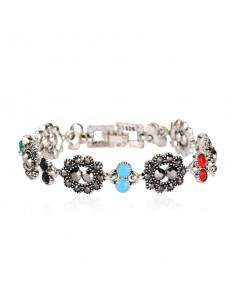Bratara vintage glam, cu flori ovale, hematite si cristale colorate