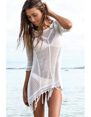 Bluza lunga tricotata pentru plaja, cu maneci trei sferturi si franjuri