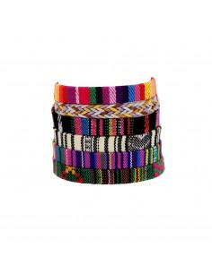 Set sase bratari cu motive etnice, material textil tesut