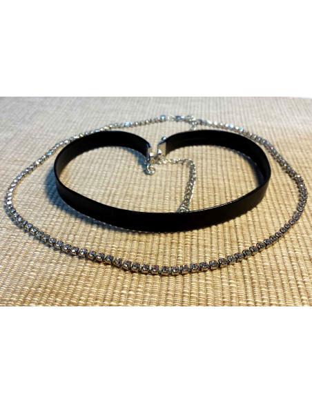 Set coliere choker elegante, piele neagra ecologica si fir cu cristale