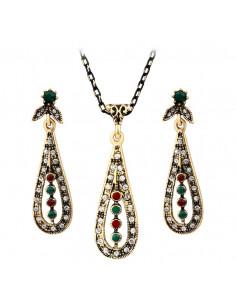 Set vintage auriu, colier si cercei model picaturi cu cristale si email