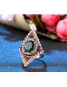 Inel vintage romboidal, cristal mare verde si mici albe si rosii