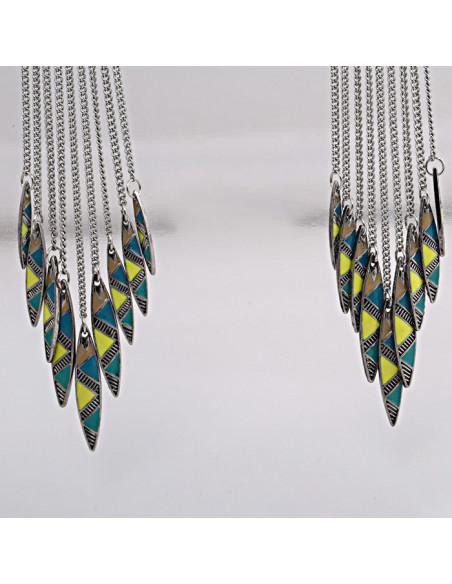 Cercei candelabru boho, triunghiuri cu lantisoare si email colorat
