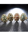 Inel vintage oval masiv, cruce cu cristale albe si interior colorat