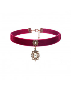 Colier choker magenta, cu medalion floral cu cristale si perla