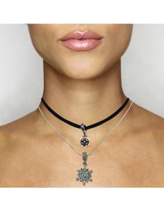 Set choker din piele eco si lant placat cu argint, medalioane fulg si floare