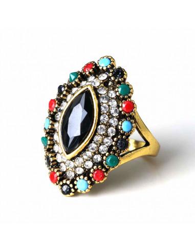 Inel vintage oval ascutit, cristal negru mare si cristale colorate